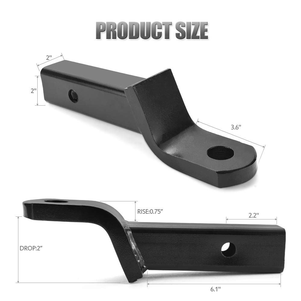 5000 lbs MICTUNING Class III Ball Mount for 2 Hitches 8-1//2 Long 3//4 Rise 2 Drop