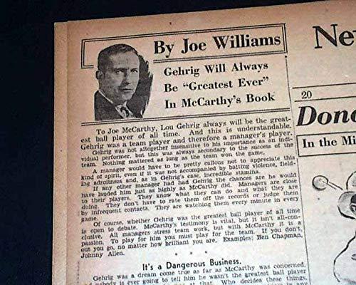 THE DAY AFTER Lou Gehrig's Farewell Speech NEW YORK YANKEES 1939 Old Newspaper NEW YORK WORLD-TELEGRAM, July 6, 1939 (The Best Farewell Speech)
