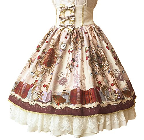 Smiling Angel Lolita Summer Autumn Paradise Garden Original Court Retro Lace Bowknot High Waist Lolita Skirt (Court Womens Skirt)