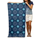 Blue And Tan Chevron Volleyball Adults Cotton Beach Towel 31' X 51'