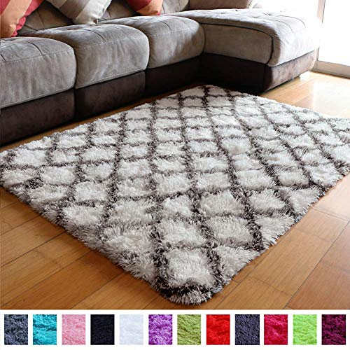 PAGISOFE Ultra Soft Contemporary Shaggy Fuzzy Moroccan Geometric Lattice Printed Fur Area Rug 4x5.3 Ft Indoor Shag Trellis Fluffy Carpets Rugs for Bedroom Living Room Home Decor (Dark Grey and White) (Kids 4x6 Rug)