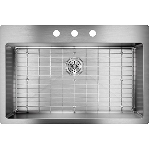 Elkay ECTSRS33229BG3 18-Gauge Stainless Steel 33-Inch X 22-Inch x 9-Inch Single Bowl Kitchen Sink, Polished Satin -