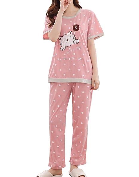 015cc3544f96 Amazon.com  MyFav Big Girls  Cat and Fish Pajama Sets Polka Dot Short Sleeve  Sleepwear Gowns  Clothing