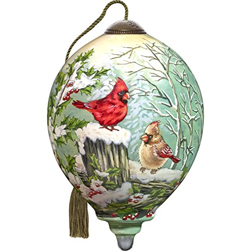 Ne'Qwa Art Hand Painted Blown Glass Winter Visitors Ornament, Cardinal