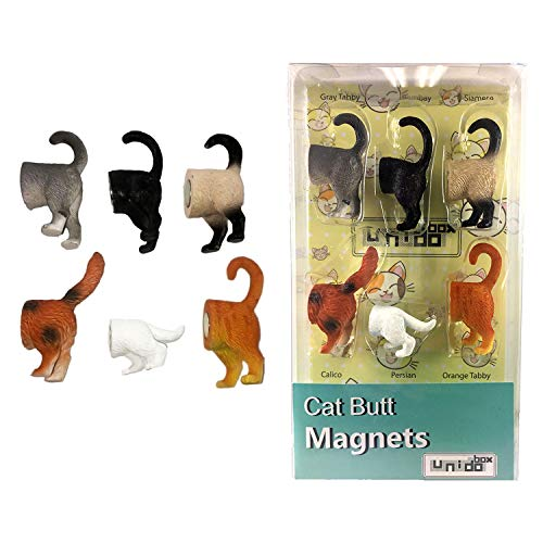 Cat Butt Magnets, Set of 6 - Funny Refrigerator Photo Magnets, Home Office Desk Decor Organizers, Animal Pet Lover Gift
