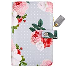 """Color Crush Faux Leather Personal Planner Binder 5.25""""X8""""-Gray Floral"""