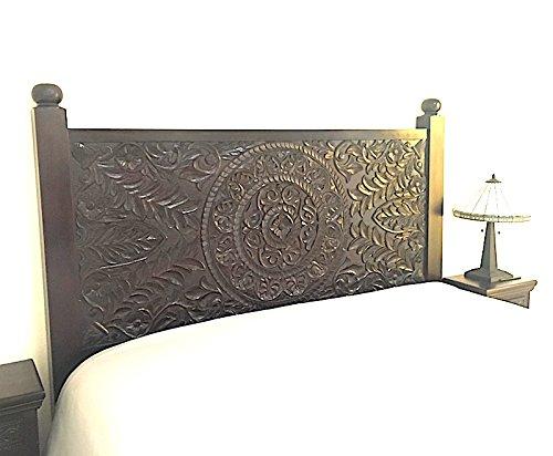 - Carved Mandala Lotus Rosewood Headboard by Worldcraft Industries, California King