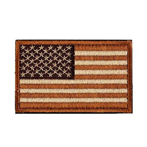 USA Tactical Morale American Flag Patch with Velcro / Made-to-Fit operator hats, military uniforms, molle-equipped 5.11 backpacks, and Condor & Tru-Spec Clothes (Desert Coyote, 2″ x 3″)