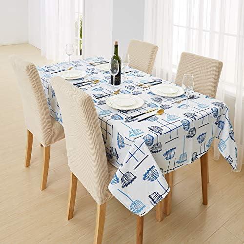 Deconovo Mantel de Mesa Rectangular Tela Oxford para Cocina Comedor Sal/ón Restaurante 137 x 200 cm Azul