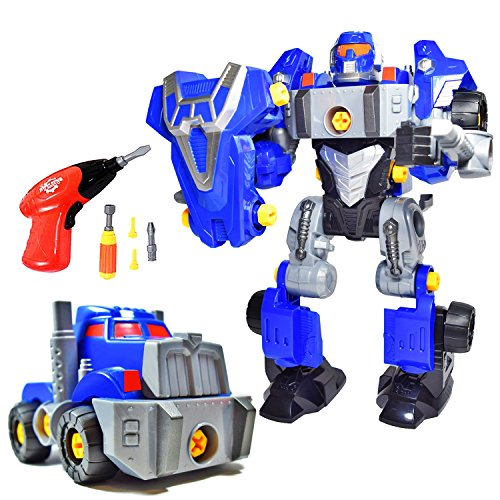 CoolToys Custom 3-in-1 Take-A-Part Robot Toy Playset | Includes Electric Play Drill, Screwdriver and 42 Modification Pieces