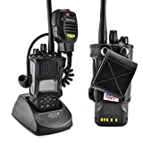 Turtleback Carry Holder for Kenwood 5200 5300 5400 NEXEDGE Fire and Police Two Way Radio Belt Clip Holster Case, Black Leather Pouch with Heavy Duty Rotating Ratcheting 2.25'' Belt Loop Made in USA