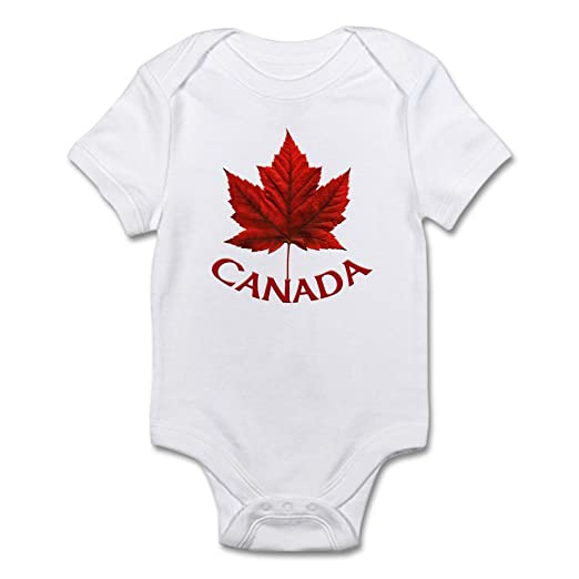 CafePress Canada Maple Leaf Souvenir Baby Body Suit Cute Infant Bodysuit  Baby Romper Cloud White 982e91378