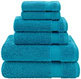 Hotel & Spa Quality, Absorbent and Soft Decorative Kitchen and Bathroom Sets, Cotton, 6 Piece Turkish Towel Set, Includes 2 Bath Towels, 2 Hand Towels, 2 Washcloths, Ocean Aqua