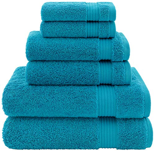 Hotel & Spa Quality, Absorbent and Soft Decorative Kitchen and Bathroom Sets, Cotton, 6 Piece Turkish Towel Set, Includes 2 Bath Towels, 2 Hand Towels, 2 Washcloths, Ocean Aqua (Pottery Clearance Bath Rugs Barn)