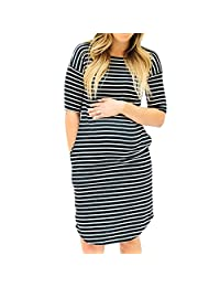 4cd80b651 Fartido Mujeres Ropa de Enfermería mamá Embarazo Maternidad Vestido de Manga  Larga