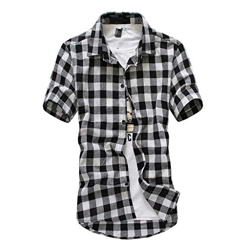 Realdo mens Mens Shirt Short Sleeve, Casual Lattice Plaid Painting Tops Blouse Black