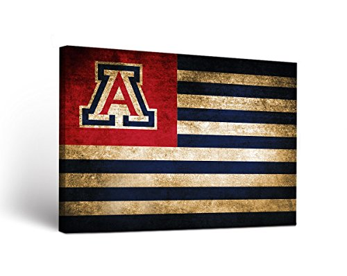 Victory Tailgate Arizona Wildcats Canvas Wall Art Vintage Flag Design (24x36) (Arizona Wildcats Framed)