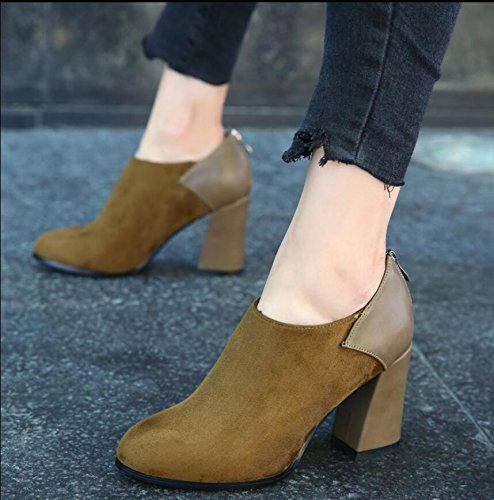 KHSKX-The Green Of The Korean Version Of The 8.5Cm Thick With High-Heeled Boots Winter New Round Head Satin Stitching And Zipper Boots And Bare Boots Female Tide 37 Suxmdz08UK