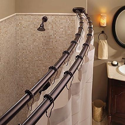 Amazon.com: Bennington Adjustable Double Curved Shower Curtain Rod ...
