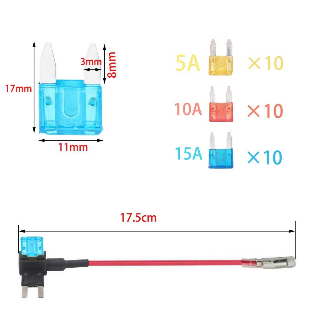 Portafusibles Estilo Cuchillar,ACS TAP Adaptador Cable Fusible,con 4 15A Fusibles Conjunto,peque/ño Est/ándar RUNCCI 12V Coche Circuit Fusible Titular