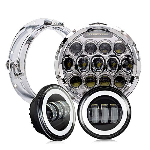 DOT Approved 7 inch LED Headlight 4.5 inch Fog Passing Lights Ring Motorcycle Headlamp for Harley Davidson Touring Road King Heritage Softail Deluxe Fatboy Ultra Classic Electra Street Glide Tri - 2014 Trike Parts Harley