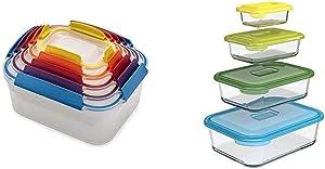 Joseph Joseph Nest Lock Plastic Food Storage Container Set with Lockable Airtight Leakproof Lids, 10-Piece, Multi-Color & Nest Glass Storage, Freezer Oven Microwave, 8-Piece Set, Multi-colored