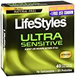 LifeStyles Ultra Sensitive Lubricated Latex Condoms - 40 ct, Pack of 4