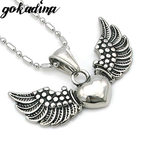 Davitu 2017 New Angel Flying Wings Heart Pendant Necklace for Mens 316L Stainless Steel Jewellery WP447