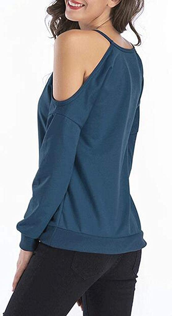 Fubotevic Womens Long Sleeve Loose Fit Solid Cold Shoulder Pullover Sweatshirts
