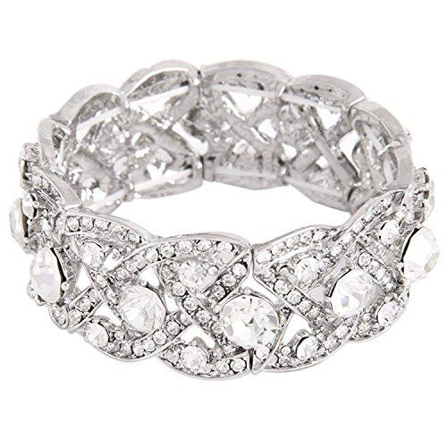 [Fairy Moda Vintage Austrian Crystal Wedding Prom Elastic Stretch Bracelet for Women Silver-Tone] (Lady Law Costume)