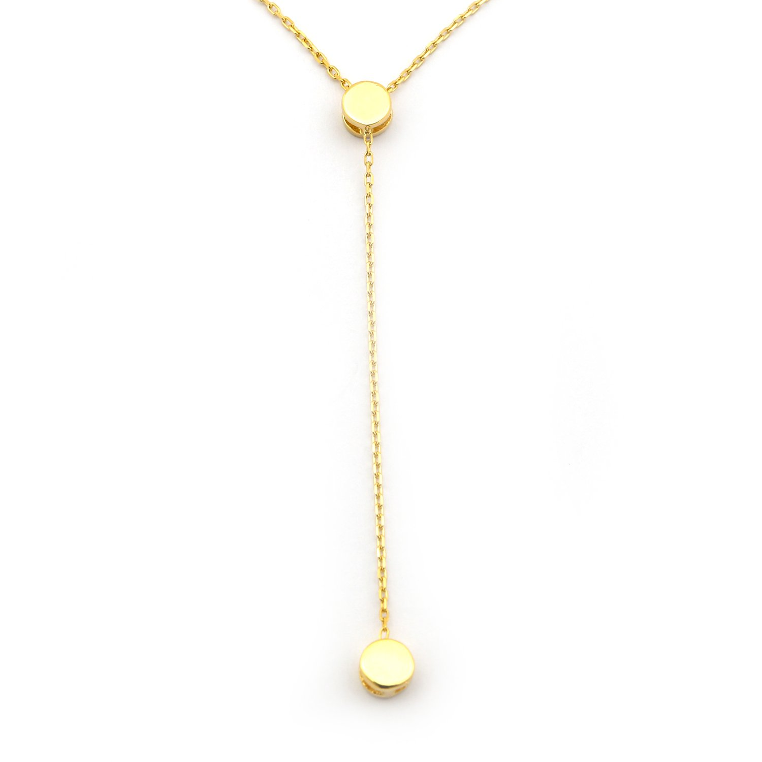 14k Yellow Gold Small Delicate Circle Lariat 17'' Necklace