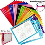 30 Dry Erase Pockets Sleeves Sheets Reusable with Elastic Marker Holder, 30-Pack, Fits All Marker Sizes, Oversized 10 x 13 inches, Storage Bag, Neon Colors