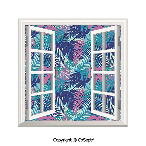 SCOXIXI Artificial Window Wall Applique Landscape Wall Decoration,Digital Neon Vivid Colored Island Oceanic Flowers and Leaves,Window Decorative Decals Interior(25.86x22.63 inch)
