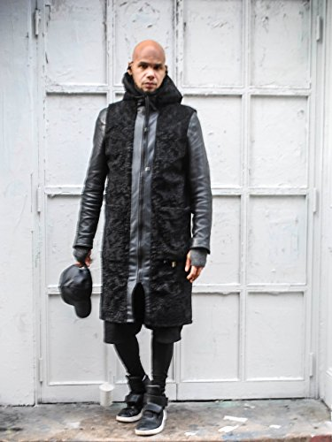 Faux Persian Lamb Fur/ Faux Leather Trim Sleeveless Zipper Front Tunic Vest (Lamb Zipper)