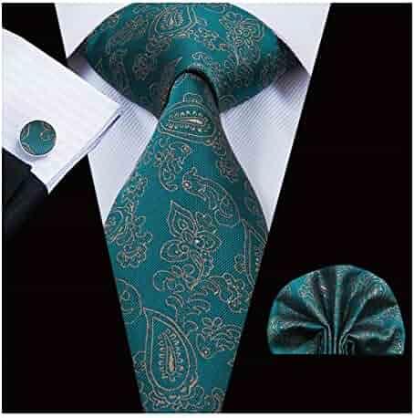 7ec684d00d5f Hi-Tie Men Classic Green Teal Tie Necktie with Cufflinks and Pocket Square  Tie Set