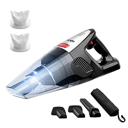 Holife Handheld Vacuum Cordless Ergonomic, 8000PA Suction Wet Dry Vacuum 22.2V Lithium Rechargeable Battery Hand Vac for Home Pet Hair Car Cleaning (Black)