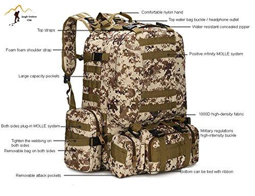 Jungle 50L zaino da uomo 's grande borse da viaggio mimetico borsa zaino tasche Wild borsa tattica Unlimited combinazione di grande Backpackhiking climbing zaino, Desert Digital