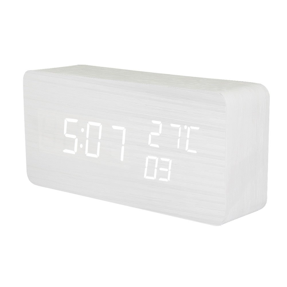KABB Wooden Alarm Clock, Acoustic Control Digital Clock White Wood Grain White LED Light Design with Time Date Week Temperature 3 Line Display Modes Desk Clock for Office and Home Decor (6 inches)