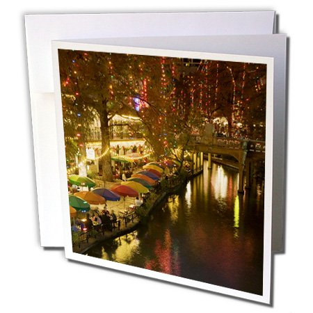 3dRose United States, Texas, San Antonio Riverwalk Area/Evening - Greeting Cards, 6 x 6 inches, set of 6 (gc_94613_1)