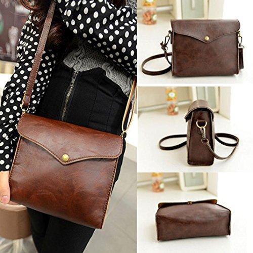 Women Messenger Shoulder Bag DZT1968® Leather Satchel Handbag Tote Hobo Messenger (A)