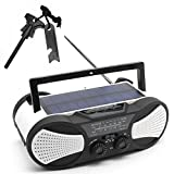 Greadio Emergency Solar Portable Weather Radio with Crank Charge, SOS Alarm, 3W Flashlight, Reading Lamp & 4000mAh Power Bank for Survival, Camping and Outdoors.