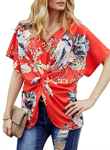 Dokotoo Womens Casual Summer Floral Print Boho Ladies Short Sleeve V Neck Twist Front Fashion Peasant Blouse and Tops Loose Shirts Fashion Tunics -