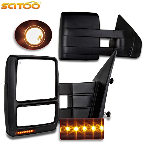 Towing Mirrors, for Ford SCITOO Exterior Accessories Mirrors for 2004-2014 Ford F150 Truck with Turn Signal Puddle Lamp Power Adjusted Heated Manual Telescoping and Folding Features