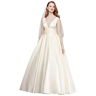 54bb49c58ee5 David's Bridal Satin Cummerbund Ball Gown Wedding Dress Style V3848 ...