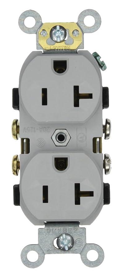 Leviton CR20-GY 20-Amp, 125-Volt, Narrow Body Duplex Receptacle ...