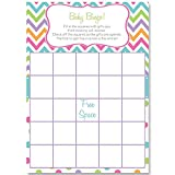 Bingo Games, Chevron Stripes & Polka Dots, White, Green, Purple, Orange, Aqua, Pink, Rainbow Baby Shower Games, Gender Neutral, Baby Shower, 24 Printed Game Cards