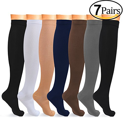 L-Lweik Compression Socks Women Men Light Compression Stockings Below Knee High Mild Support Socks for Running, Nurses, Pregnancy, Maternity, Sports, Crossfit, Gym, (Womens Lites Sheer Support)
