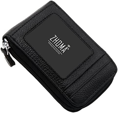 Zhoma RFID Blocking Genuine Leather Credit Card Case Holder Travel Wallet with ID Window
