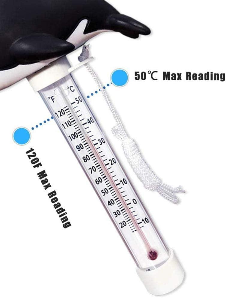 Spas Teichwasserthermometer mit Schnur f/ür Au/ßen- und Innenschwimmb/äder Schwimmendes Schwimmbad-Thermometer Flamingo bruchsicher Whirlpools