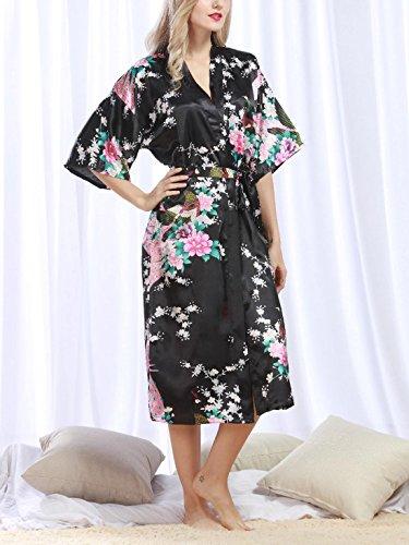 Feoya - Albornoz Ropa de dormir Kimono para Mujer Estampado Floral Pavo Real Vestido de Baño Verano Primavera Negro
